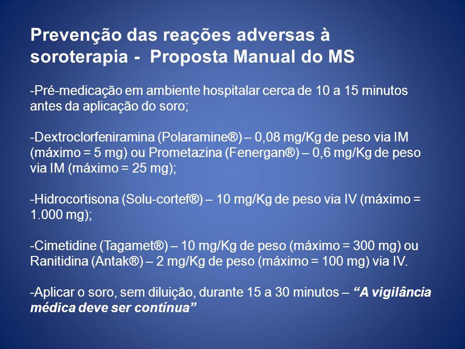 Prevenção das reações adversas à soroterapia - Proposta Manual do MS -Pré-medicação em ambiente hospitalar cerca de 10 a 15 minutos antes da aplicação do soro; -Dextroclorfeniramina (Polaramine®) – 0,08 mg/Kg de peso via IM (máximo = 5 mg) ou Prometazina (Fenergan®) – 0,6 mg/Kg de peso via IM (máximo = 25 mg); -Hidrocortisona (Solu-cortef®) – 10 mg/Kg de peso via IV (máximo = 1.000 mg); -Cimetidine (Tagamet®) – 10 mg/Kg de peso (máximo = 300 mg) ou Ranitidina (Antak®) – 2 mg/Kg de peso (máximo = 100 mg) via IV.