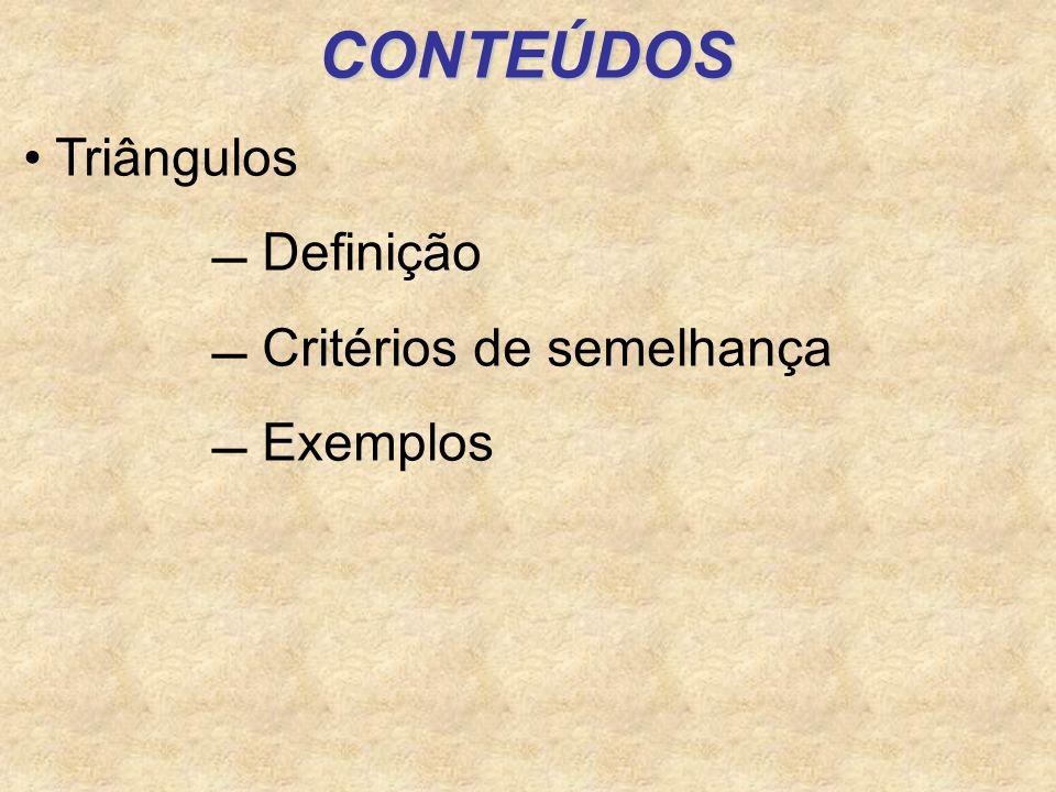 CONTEÚDOS Triângulos  Definição  Critérios de semelhança  Exemplos