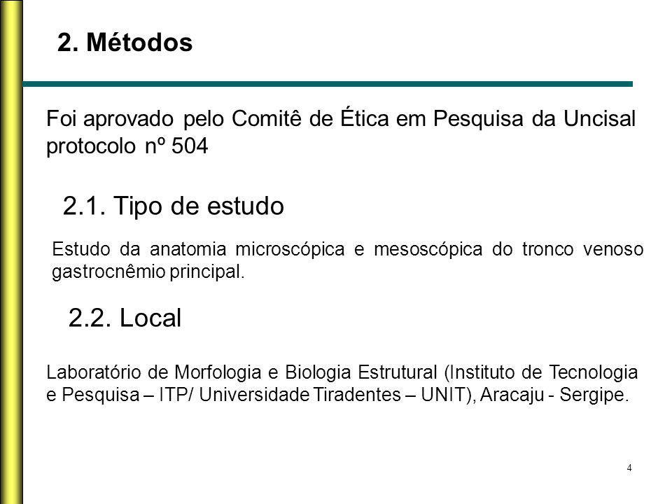 2. Métodos 2.1. Tipo de estudo 2.2. Local
