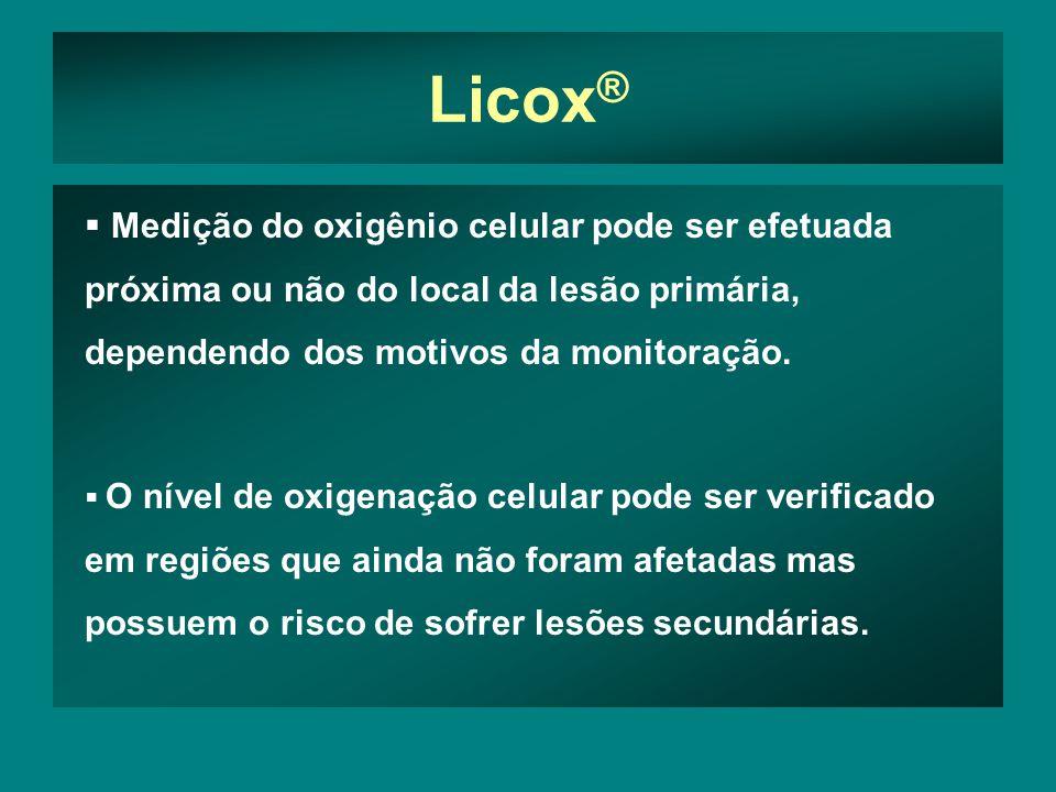 Licox® Medição do oxigênio celular pode ser efetuada próxima ou não do local da lesão primária, dependendo dos motivos da monitoração.