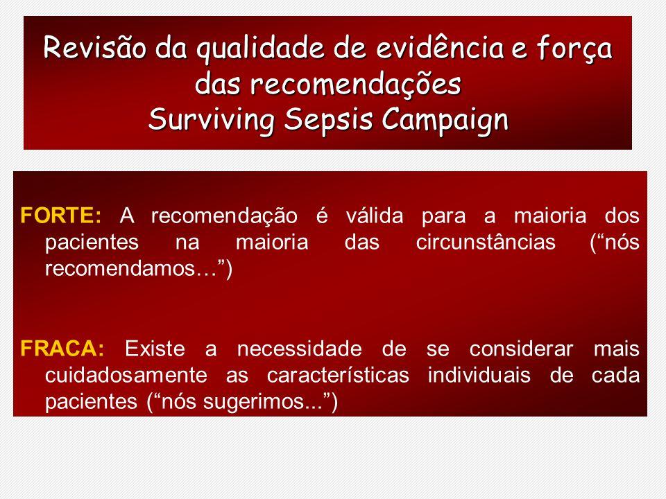 Revisão da qualidade de evidência e força das recomendações