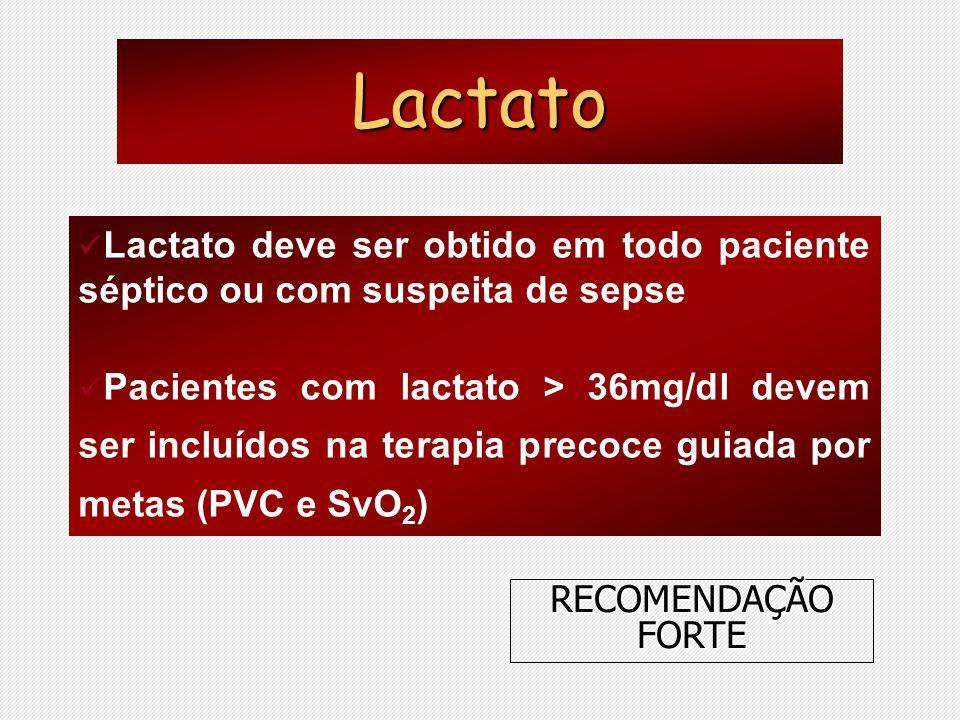 Lactato Lactato deve ser obtido em todo paciente séptico ou com suspeita de sepse.