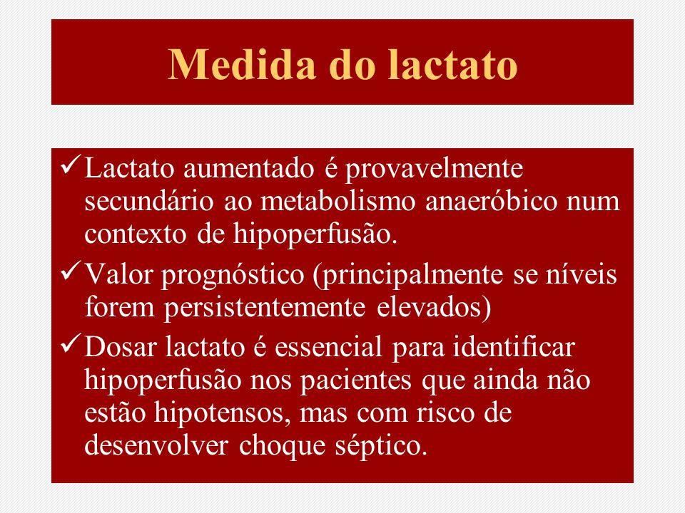 Medida do lactato Lactato aumentado é provavelmente secundário ao metabolismo anaeróbico num contexto de hipoperfusão.