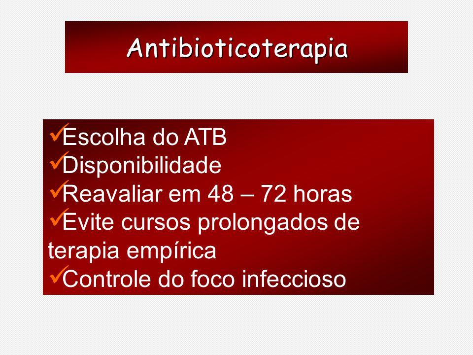 Antibioticoterapia Escolha do ATB Disponibilidade