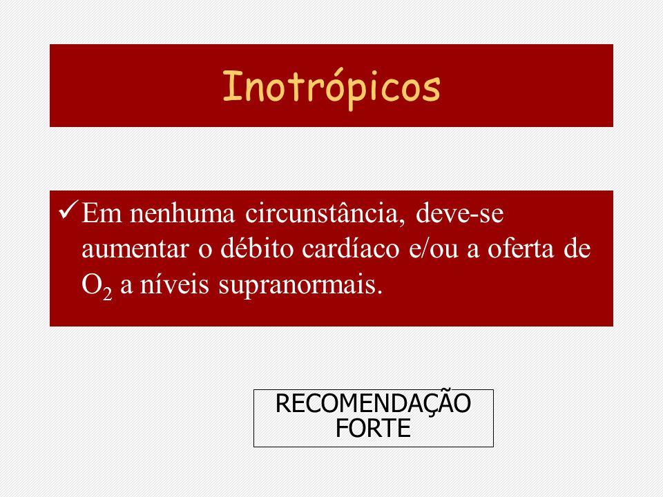Inotrópicos Em nenhuma circunstância, deve-se aumentar o débito cardíaco e/ou a oferta de O2 a níveis supranormais.