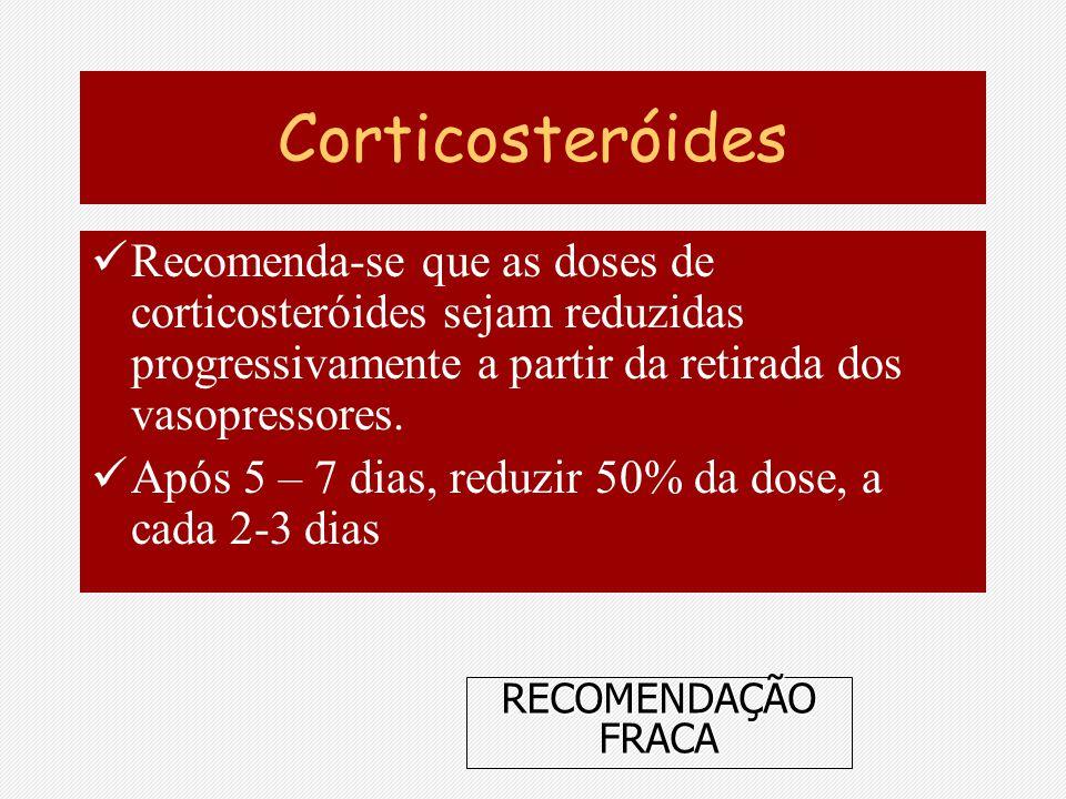 Corticosteróides Recomenda-se que as doses de corticosteróides sejam reduzidas progressivamente a partir da retirada dos vasopressores.