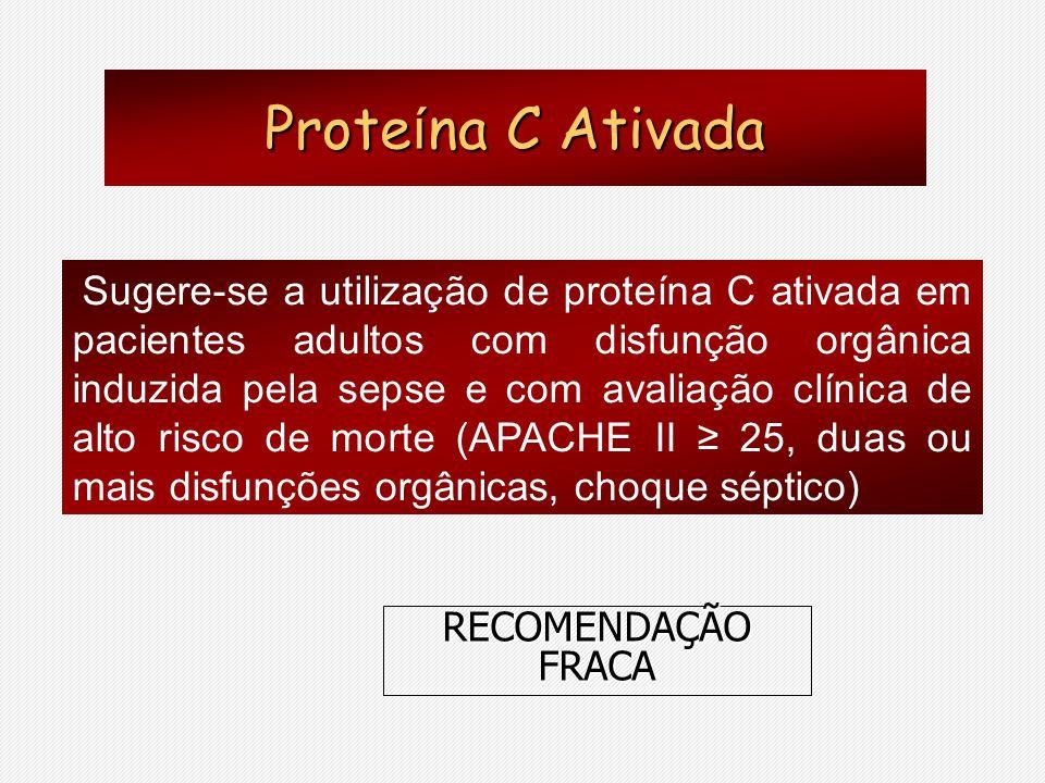Proteína C Ativada RECOMENDAÇÃO FRACA