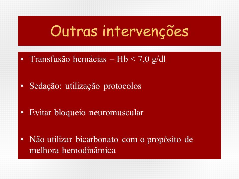 Outras intervenções Transfusão hemácias – Hb < 7,0 g/dl