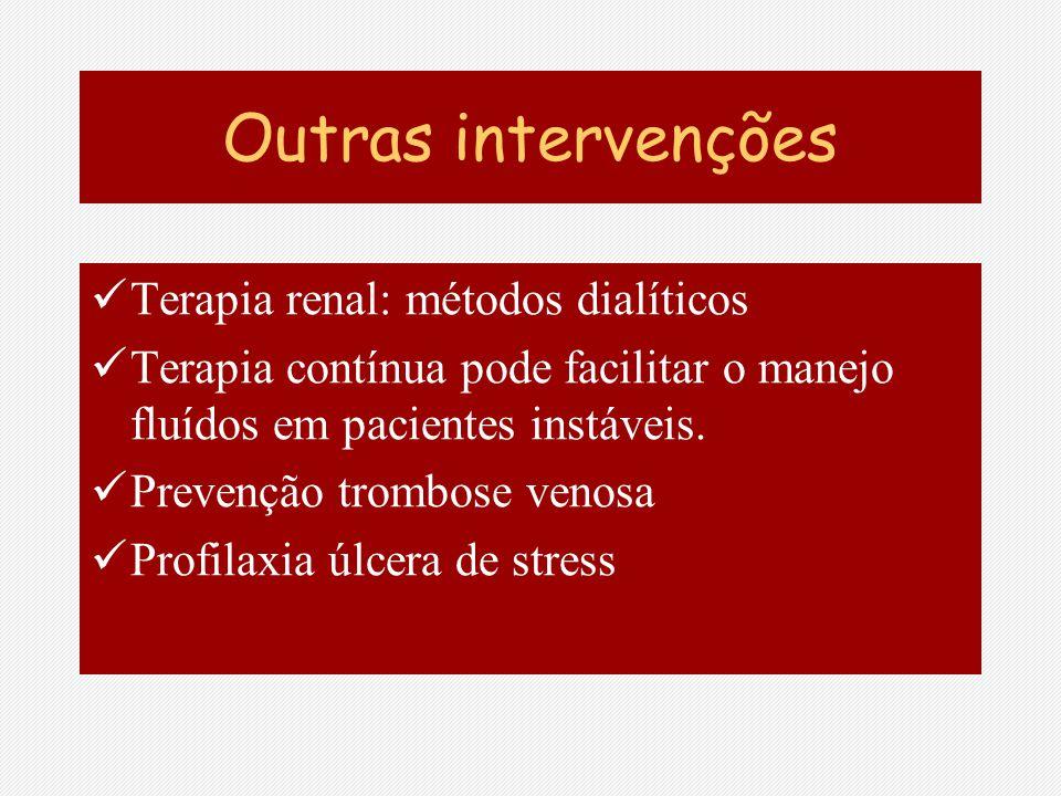 Outras intervenções Terapia renal: métodos dialíticos