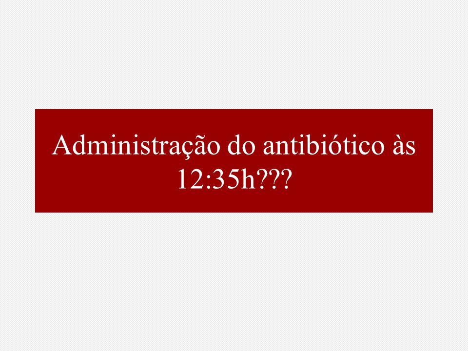 Administração do antibiótico às 12:35h