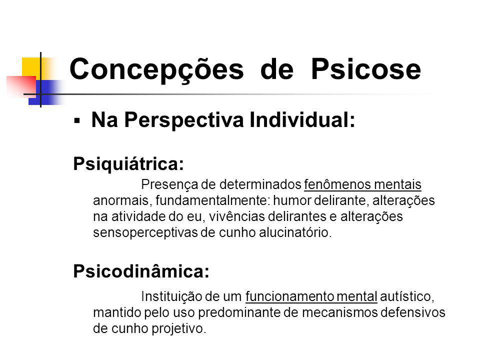 Concepções de Psicose Na Perspectiva Individual: Psiquiátrica: