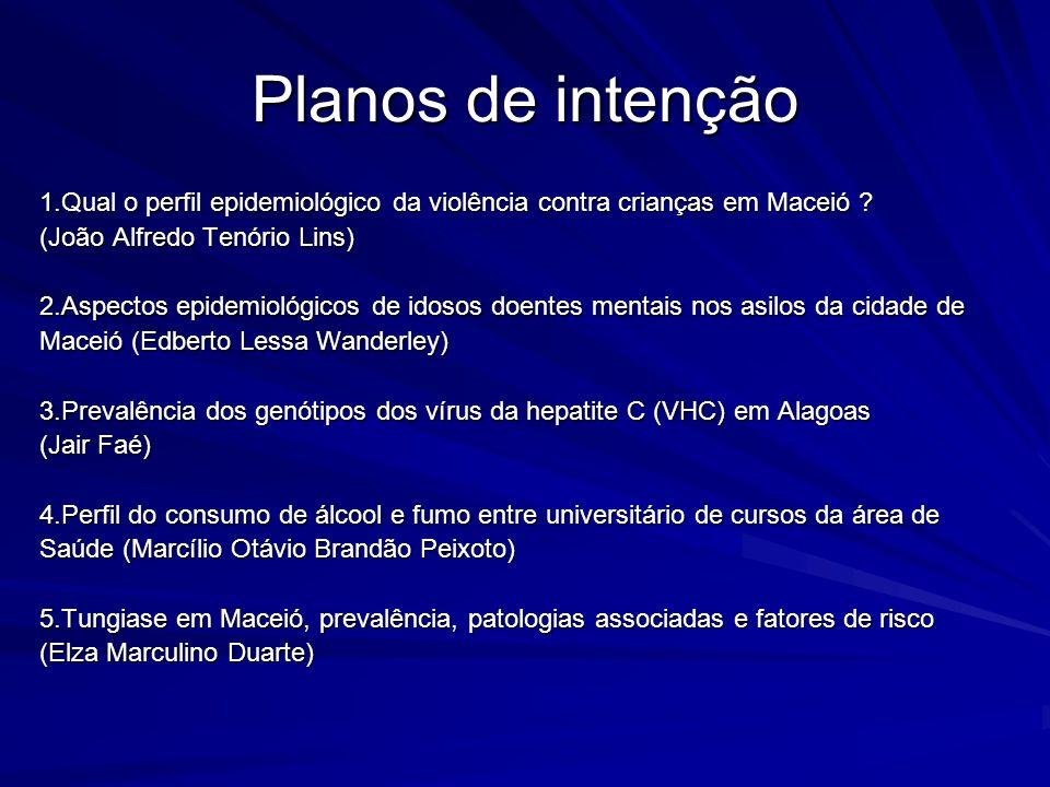 Planos de intenção 1.Qual o perfil epidemiológico da violência contra crianças em Maceió (João Alfredo Tenório Lins)