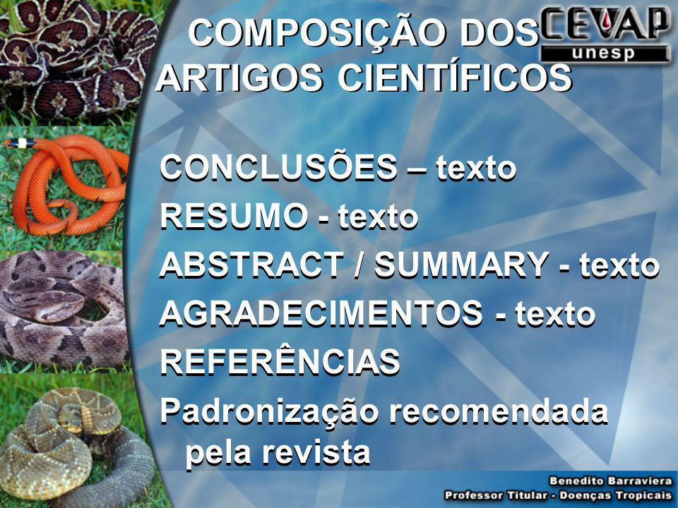 COMPOSIÇÃO DOS ARTIGOS CIENTÍFICOS