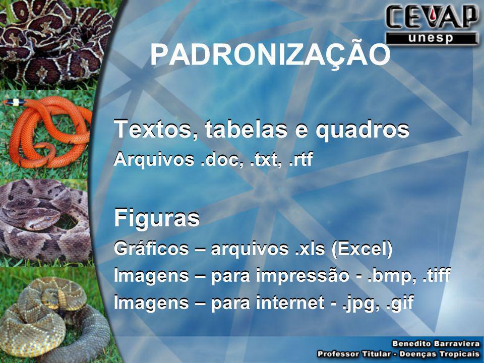 PADRONIZAÇÃO Textos, tabelas e quadros Figuras