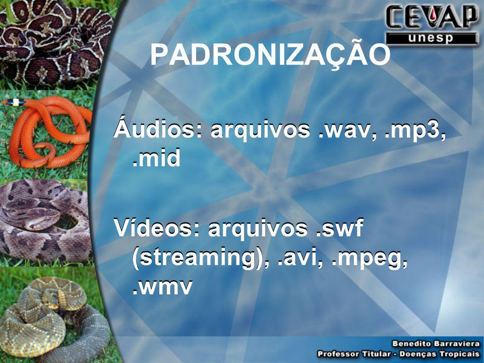 PADRONIZAÇÃO Áudios: arquivos .wav, .mp3, .mid