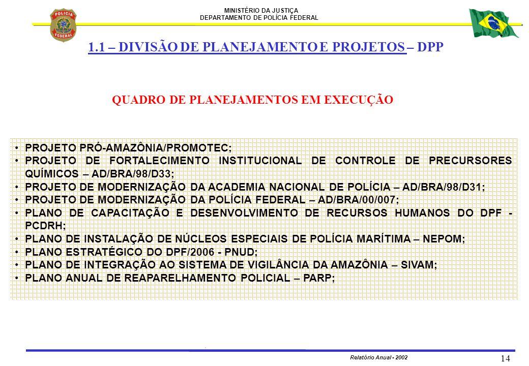 1.1 – DIVISÃO DE PLANEJAMENTO E PROJETOS – DPP