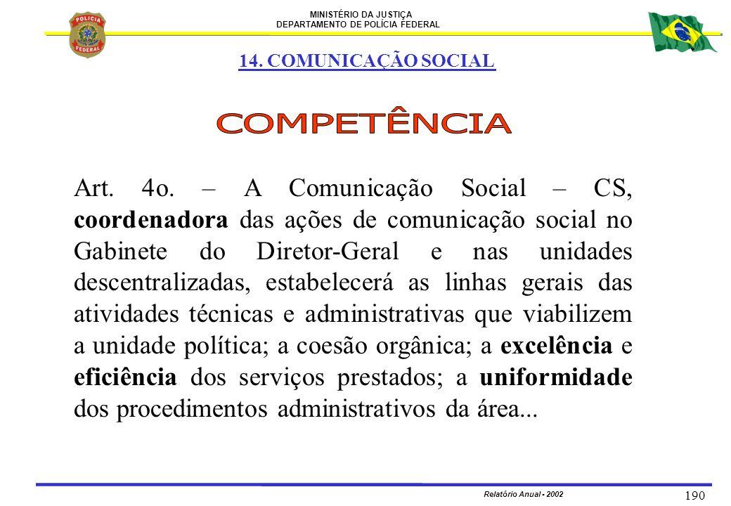 14. COMUNICAÇÃO SOCIAL COMPETÊNCIA.