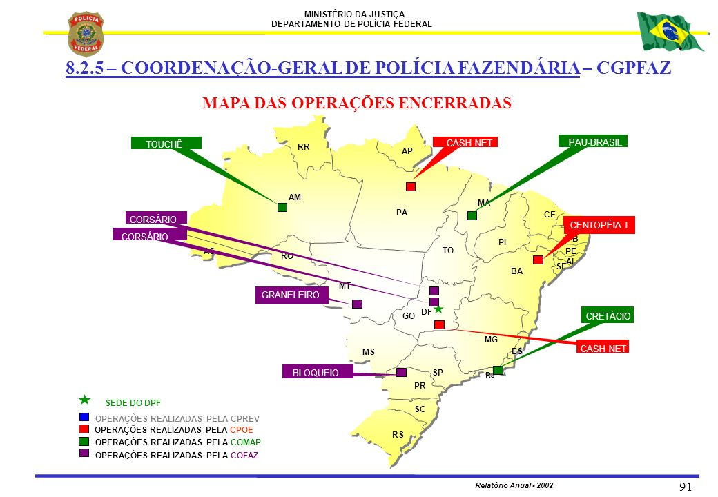 MAPA DAS OPERAÇÕES ENCERRADAS