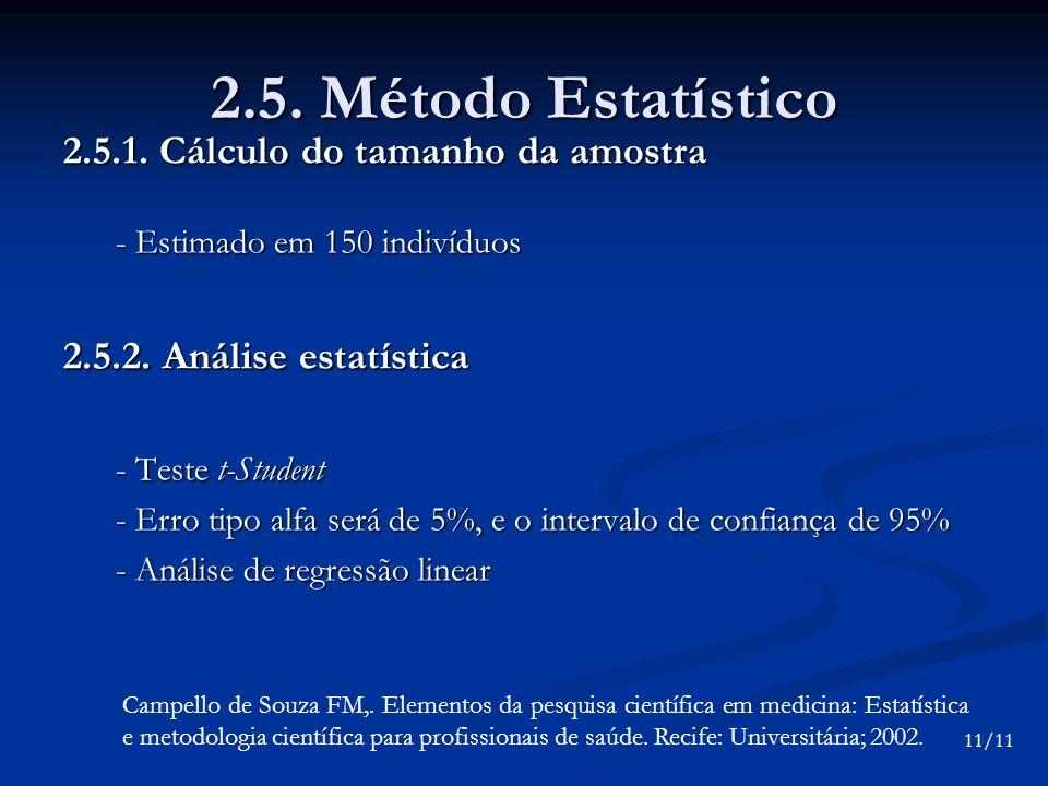 2.5. Método Estatístico 2.5.1. Cálculo do tamanho da amostra