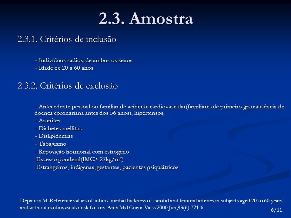2.3. Amostra 2.3.1. Critérios de inclusão 2.3.2. Critérios de exclusão
