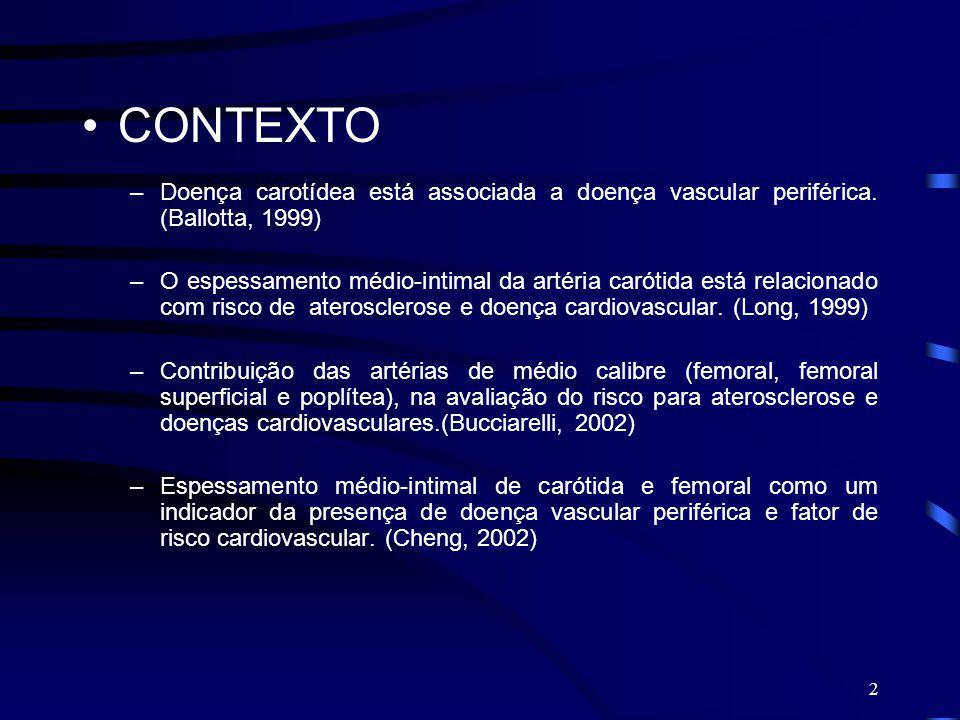 CONTEXTO Doença carotídea está associada a doença vascular periférica. (Ballotta, 1999)