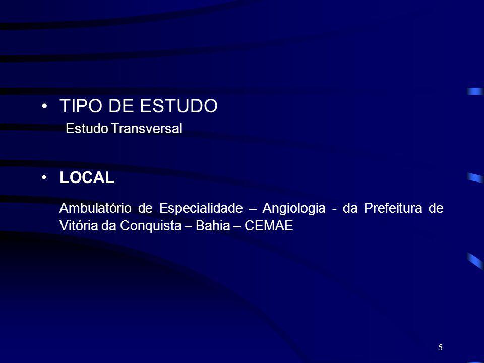 TIPO DE ESTUDO Estudo Transversal. LOCAL.