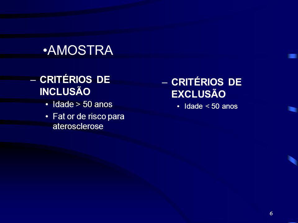 AMOSTRA CRITÉRIOS DE INCLUSÃO CRITÉRIOS DE EXCLUSÃO Idade > 50 anos
