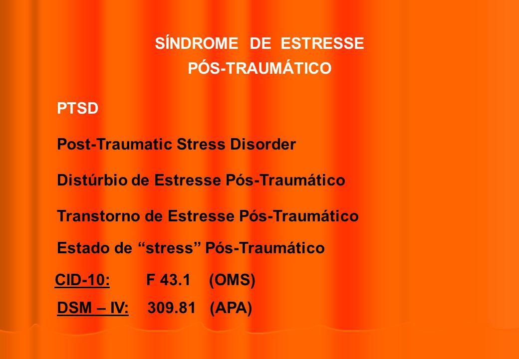 SÍNDROME DE ESTRESSE PÓS-TRAUMÁTICO. PTSD. Post-Traumatic Stress Disorder. Distúrbio de Estresse Pós-Traumático.