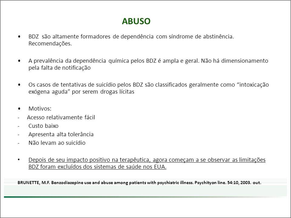 ABUSO BDZ são altamente formadores de dependência com síndrome de abstinência. Recomendações.
