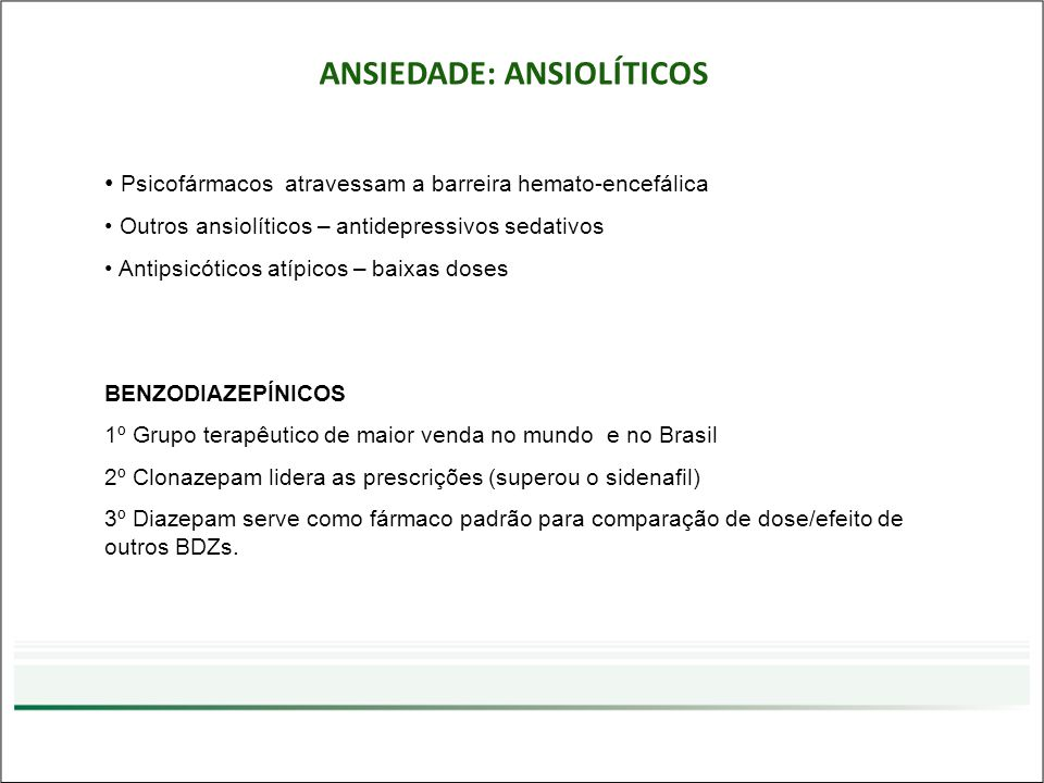 ANSIEDADE: ANSIOLÍTICOS