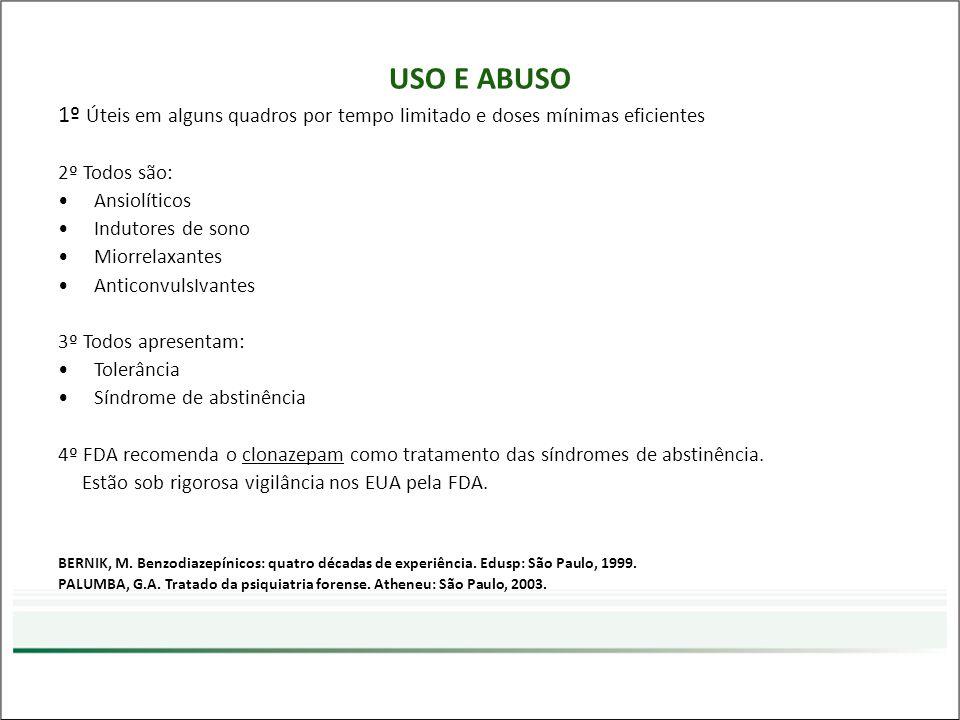 USO E ABUSO 1º Úteis em alguns quadros por tempo limitado e doses mínimas eficientes. 2º Todos são: