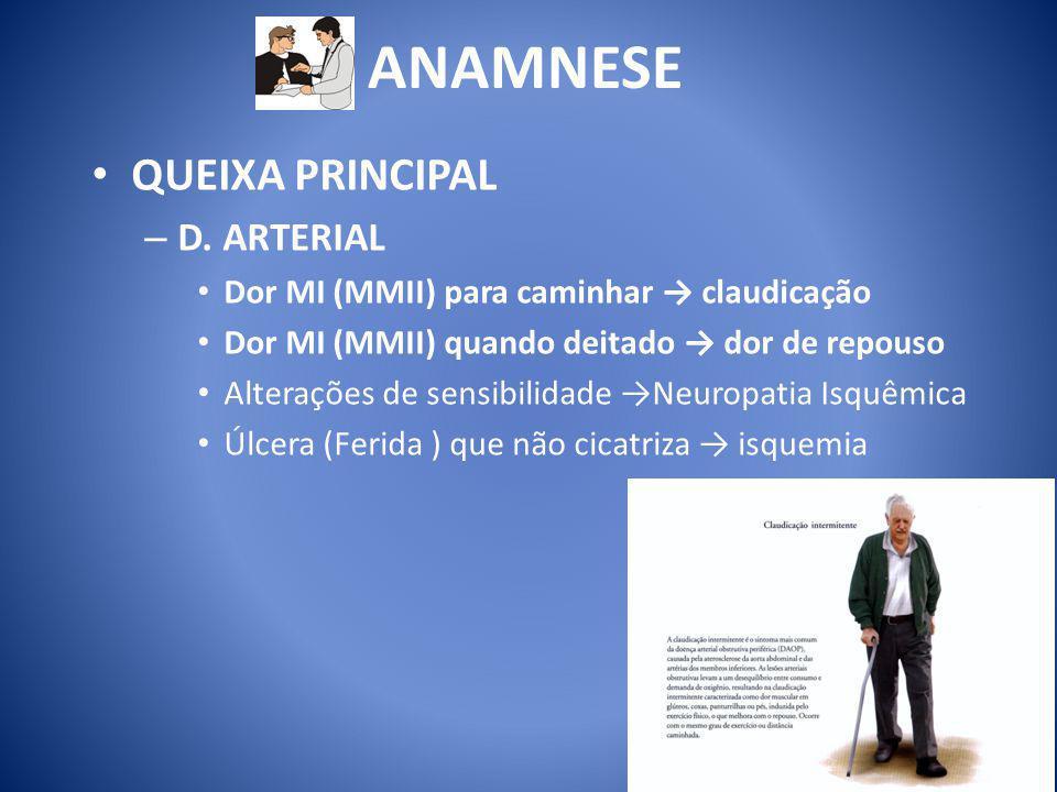 ANAMNESE QUEIXA PRINCIPAL D. ARTERIAL