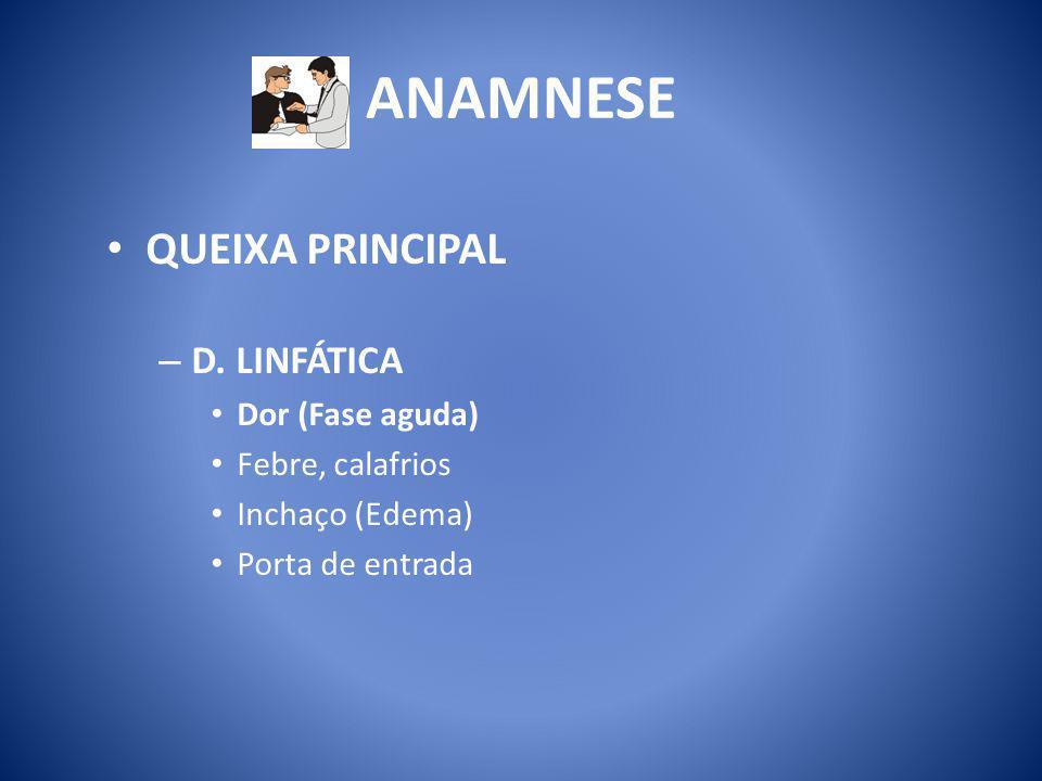 ANAMNESE QUEIXA PRINCIPAL D. LINFÁTICA Dor (Fase aguda)