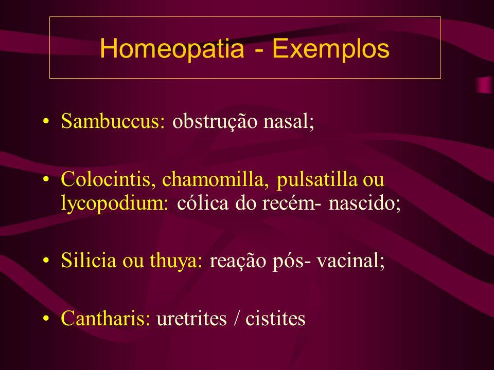 Homeopatia - Exemplos Sambuccus: obstrução nasal;