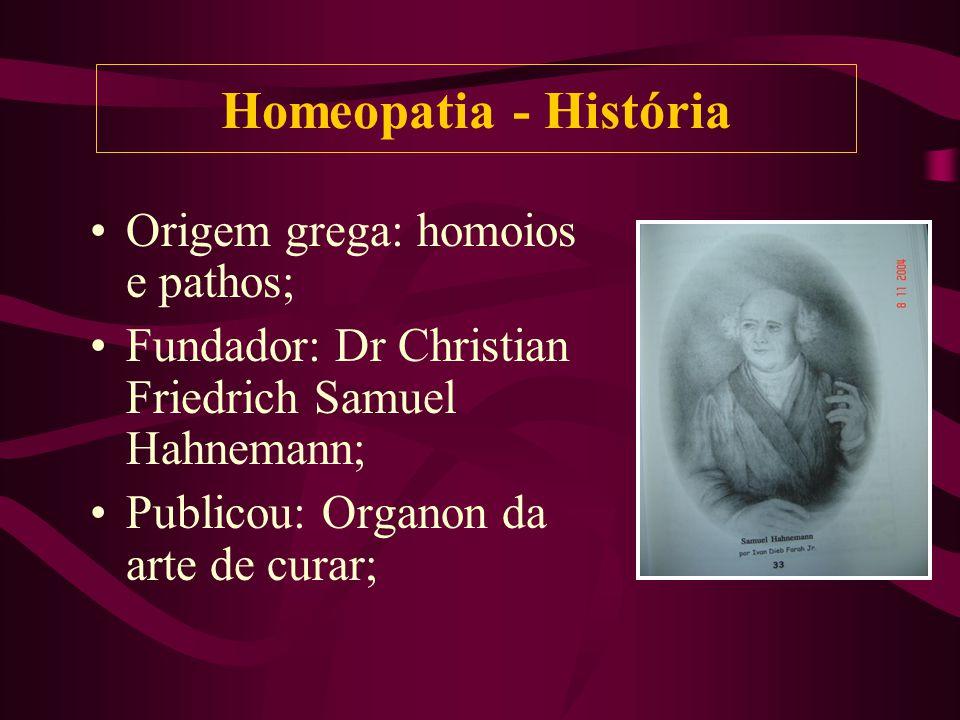 Homeopatia - História Origem grega: homoios e pathos;