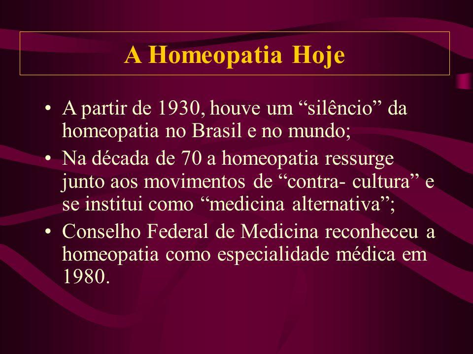 A Homeopatia Hoje A partir de 1930, houve um silêncio da homeopatia no Brasil e no mundo;