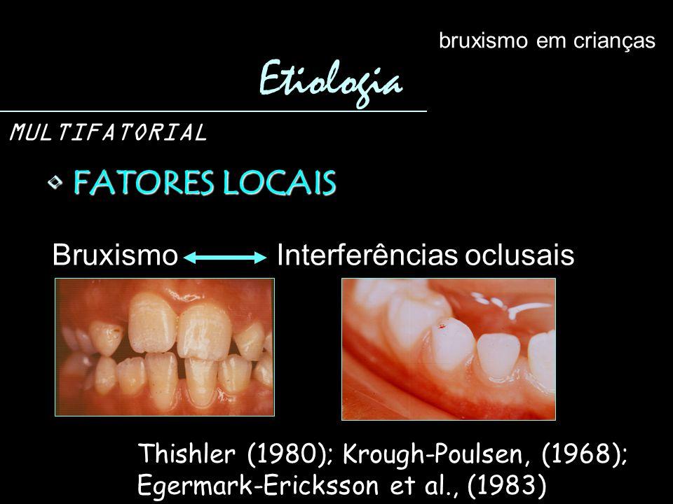Etiologia FATORES LOCAIS Bruxismo Interferências oclusais