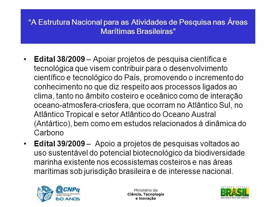 A Estrutura Nacional para as Atividades de Pesquisa nas Áreas Marítimas Brasileiras
