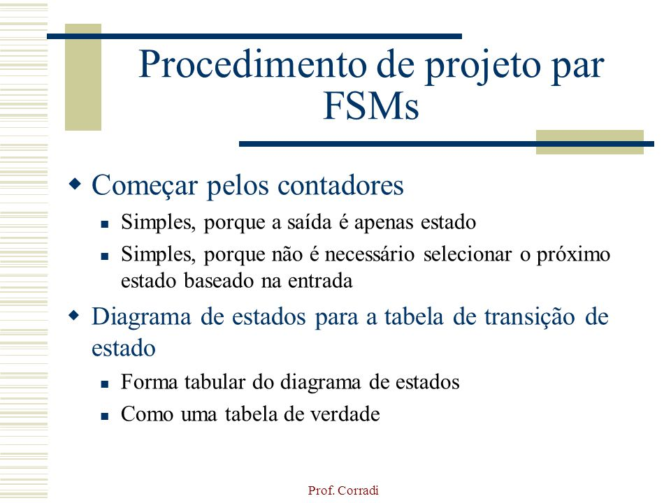 Procedimento de projeto par FSMs