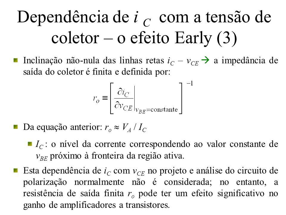Dependência de i C com a tensão de coletor – o efeito Early (3)