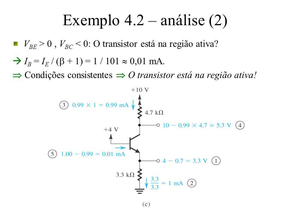 Exemplo 4.2 – análise (2) VBE > 0 , VBC < 0: O transistor está na região ativa  IB = IE / (b + 1) = 1 / 101  0,01 mA.