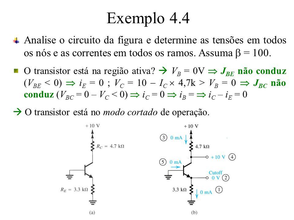 Exemplo 4.4 Analise o circuito da figura e determine as tensões em todos os nós e as correntes em todos os ramos. Assuma b = 100.