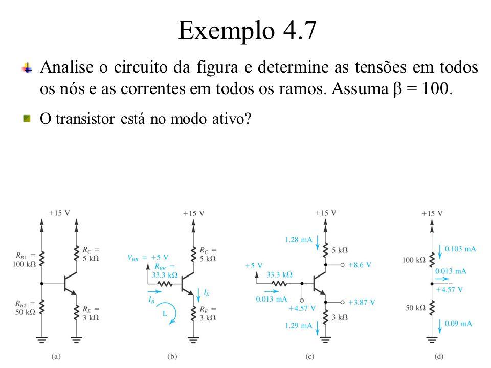 Exemplo 4.7 Analise o circuito da figura e determine as tensões em todos os nós e as correntes em todos os ramos. Assuma b = 100.