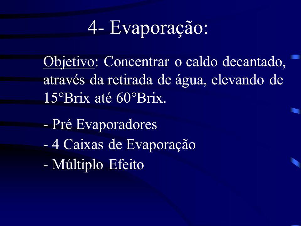 4- Evaporação: Objetivo: Concentrar o caldo decantado, através da retirada de água, elevando de 15°Brix até 60°Brix.