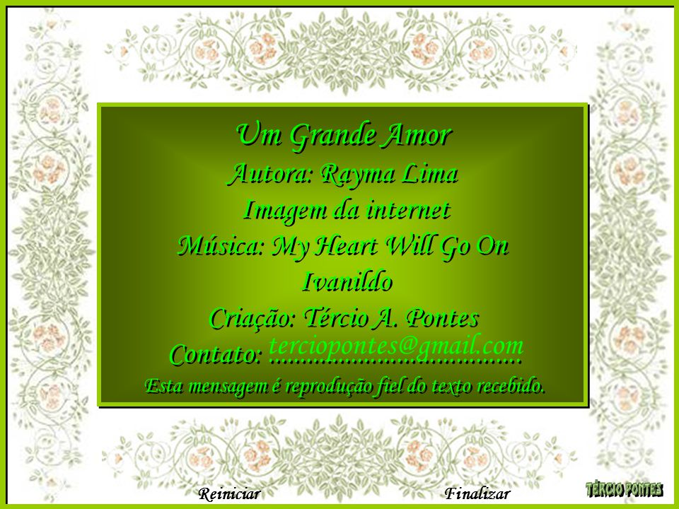 Um Grande Amor Autora: Rayma Lima Imagem da internet