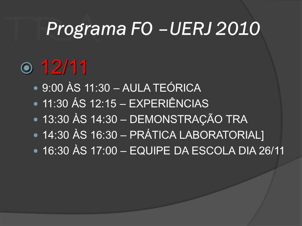 12/11 Programa FO –UERJ 2010 9:00 ÀS 11:30 – AULA TEÓRICA