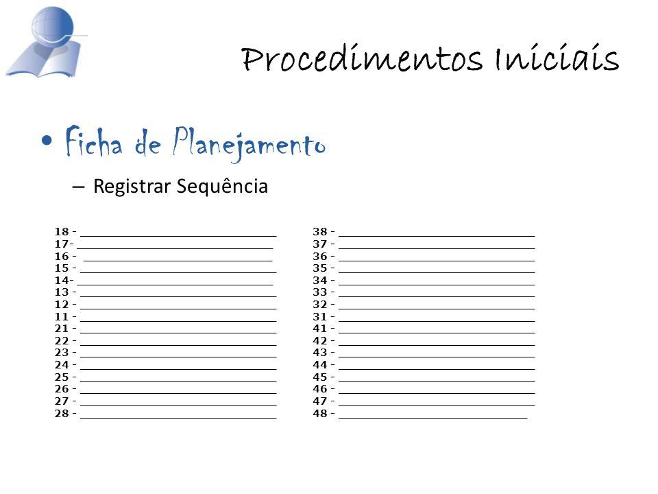 Procedimentos Iniciais
