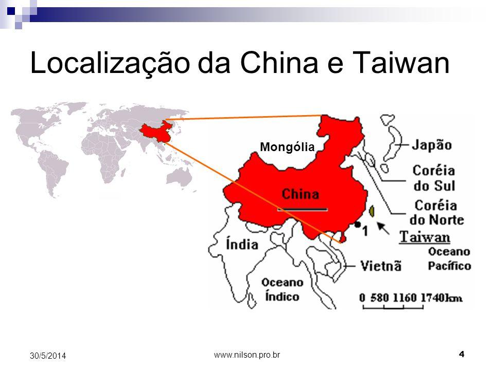 Localização da China e Taiwan