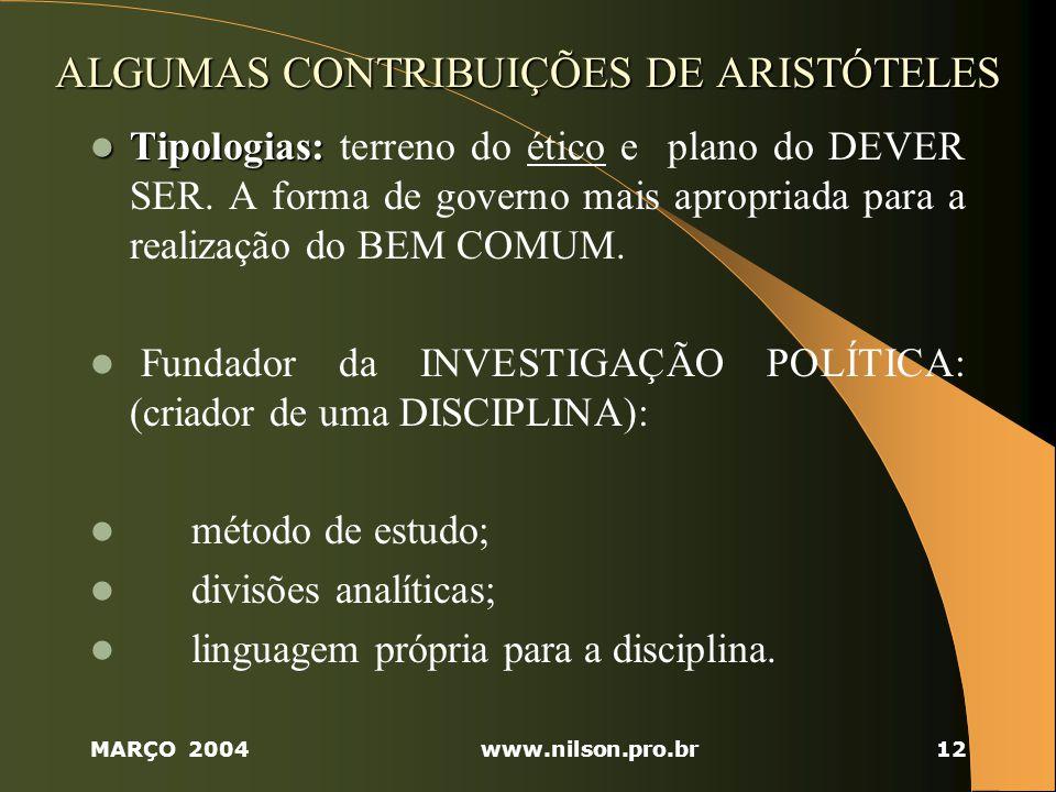ALGUMAS CONTRIBUIÇÕES DE ARISTÓTELES