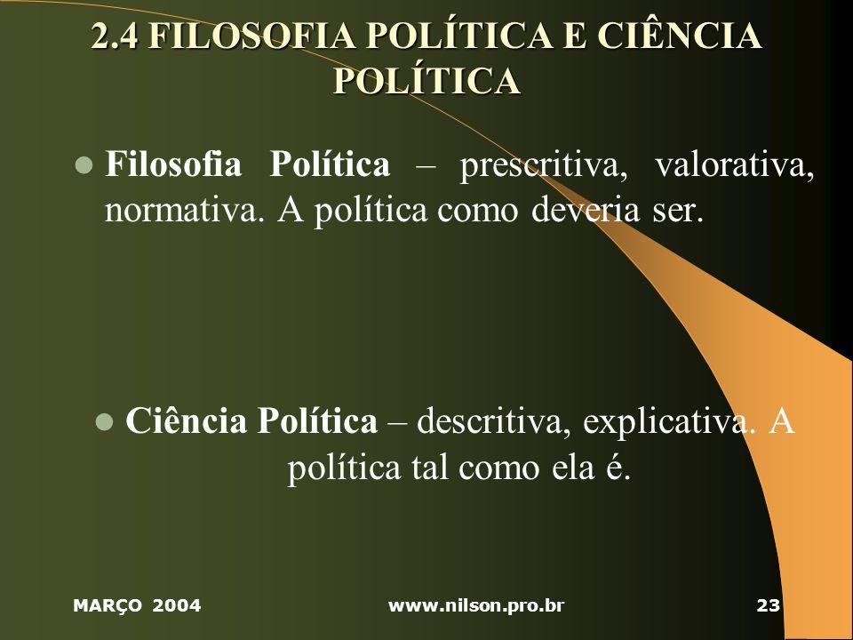 2.4 FILOSOFIA POLÍTICA E CIÊNCIA POLÍTICA